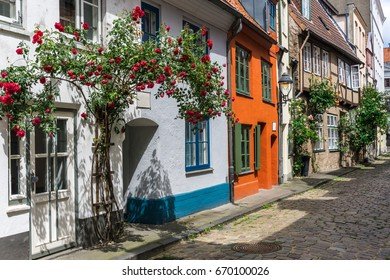 luebeck, colorful city view with historical facades in the old town quarter,