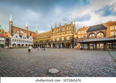 LUEBECK, DE - SEPTEMBER 15, 2017: Market square in Luebeck, Schleswig-Holstein, northern Germany.