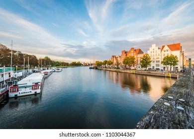 LUEBECK, DE - SEPTEMBER 15, 2017: Trave river as it passes through Luebeck in Schleswig-Holstein, northern Germany.