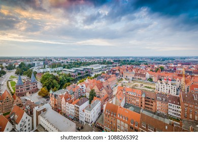 LUEBECK, DE - SEPTEMBER 16, 2017: Trave river as it passes through Luebeck in Schleswig-Holstein, northern Germany.