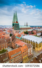 LUEBECK, DE - SEPTEMBER 16, 2017: Saint Mary Church (Marienkirche), a symbol of the power and prosperity of Luebeck, Schleswig-Holstein, northern Germany.