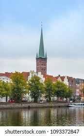 LUEBECK, DE - SEPTEMBER 16, 2017: The Saint Petri Church, holds cultural and religious events as well as art exhibitions in Luebeck, Schleswig-Holstein, northern Germany.