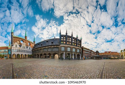 LUEBECK, DE - SEPTEMBER 17, 2017: Market square in Luebeck, Schleswig-Holstein, northern Germany.