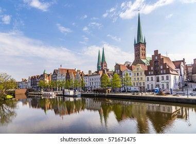 LUEBECK, GERMANY - APR 22, 2014: scenic view to skyline of Luebeck at river Trave
