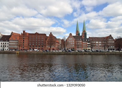 Luebeck, Germany- APRIL 22, 2016: View of the Trave River.