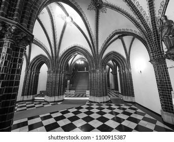 LUEBECK, GERMANY - CIRCA MAY 2017: Luebeck Rathaus (city hall) in black and white