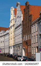 Luebeck, Germany, (German: Lübeck). The medieval old town with cobblestone street.