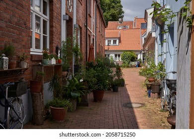 Luebeck, Germany - July 20, 2021 - The old town centre and the district termed the Innenstadt are on an island surrounded by arms of the river Trave, canals and remains of the medieval city defences