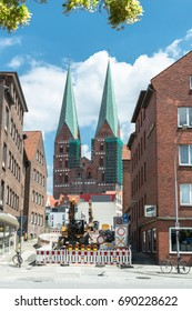 Luebeck, Germany,  June 19, 2017, Construction site in Luebeck with view to the Saint Mary's Church