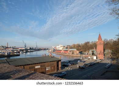 LUEBECK, GERMANY - NOVEMBER 15, 2081:  view over the harbor at the trave river in the hanseatic city luebeck