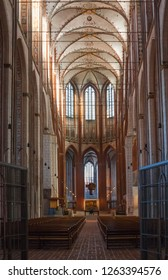Luebeck, Germany - November 7, 2018: Interior of Luebecker Marienkirche (St. Mary's Church) in Luebeck (St. Marien zu Luebeck). Built in 1250-1350.