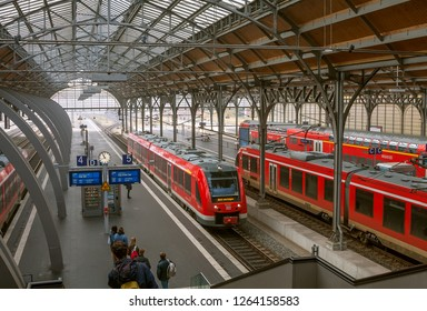 Luebeck, Germany - November 7, 2018:   Lubeck Hauptbahnhof railway station. Main railway station of Lubeck city (Schleswig-Holstein state), opened at 1908.