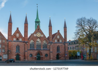 Luebeck, Germany - November 7, 2018: Exterior view of Hospital of Holy Spirit (Heiligen-Geist-Hospital), one of oldest (1260) social institutions worldwide in Luebeck, Germany.