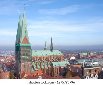Luebeck, Germany - November 7, 2018: Luebecker Marienkirche (St. Mary's Church) in Luebeck (St. Marien zu Luebeck). Built in 1250-1350.