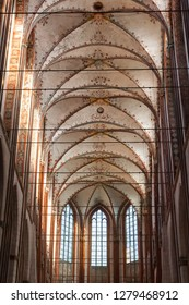 Luebeck, Germany - November 7, 2018: Ceiling and windows of Marienkirche (St. Mary's Church); official name St. Marien zu Luebeck.