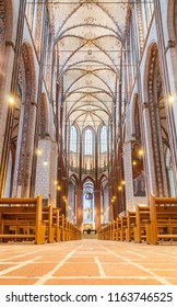 Luebeck, Germany - October 16 2015: Nave and Ceiling  of Marienkirche (St. Mary's Church) in Luebeck, Germany (official name: St. Marien zu Luebeck)