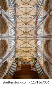 Luebeck, Germany - October 16 2015: Ceiling and Organ of Marienkirche (St. Mary's Church) in Luebeck, Germany (official name: St. Marien zu Luebeck)