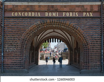 LUEBECK, GERMANY-MAY 25; 2018: holsten gate (holstentor), a city gate in the center of luebeck