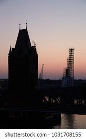 Luebeck, lift bridge in the evening light