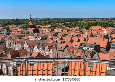Lueneburg, Germany - June 5, 2018: View from the old water tower of the historic Hanseatic city of Lueneburg, Germany, over the rooftops of the old town.