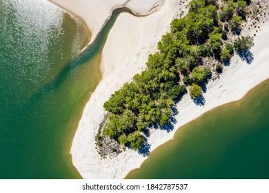 Luftaufnahme Stausee, Embalse de Gorg Blau, Tramuntana, Mallorca, Balearen, Spanien,