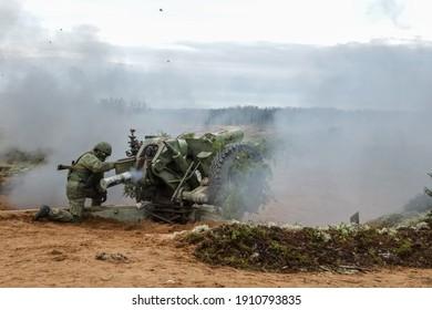 Luga, Leningrad Oblast, Russia 11.19.2020 Artillery crew exercises of the Russian Federation