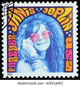 LUGA, RUSSIA - APRIL 26, 2017: A stamp printed by USA shows image portrait of Janis Lyn Joplin - famous American singer of the 1960s, circa 2014