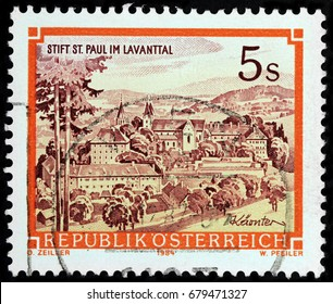 LUGA, RUSSIA - APRIL 26, 2017: A stamp printed by AUSTRIA shows beautiful view of Saint Paul Abbey in Lavanttal - a Benedictine monastery established in 1091, circa1984