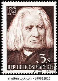 LUGA, RUSSIA - AUGUST 20, 2017: A stamp printed by AUSTRIA shows image portrait of famous Hungarian composer, virtuoso pianist, conductor and music teacher Franz Liszt, circa 1961