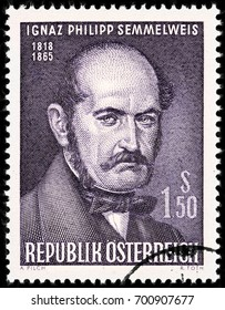 LUGA, RUSSIA - AUGUST 20, 2017: A stamp printed by AUSTRIA shows Ignaz Philipp Semmelweis - Hungarian physician, now known as an early pioneer of antiseptic procedures, circa 1965