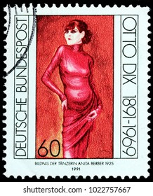 LUGA, RUSSIA - FEBRUARY 08, 2018: A stamp printed by GERMANY shows portrait of Anita Berber - a German dancer, actress, and writer who was the subject of an Otto Dix painting, circa 1991
