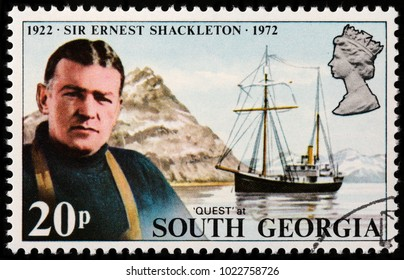 LUGA, RUSSIA - FEBRUARY 08, 2018: A stamp printed by SOUTH GEORGIA shows image portrait of Sir Ernest Shackleton - a polar explorer who led three British expeditions to Antarctic, circa 1972