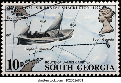 LUGA, RUSSIA - FEBRUARY 08, 2018: A stamp printed by SOUTH GEORGIA shows Voyage of the James Caird boat undertaken by Sir Ernest Shackleton and five companions in 1916, circa 1972