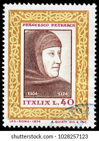 LUGA, RUSSIA - FEBRUARY 08, 2018: A stamp printed by ITALY shows Francesco Petrarca, commonly anglicized as Petrarch - an Italian scholar and poet in Renaissance Italy, circa 1974