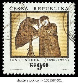 LUGA, RUSSIA - FEBRUARY 08, 2018: A stamp printed by CZECH REPUBLIC shows portrait of Czech photographer Josef Sudek. He was best known for his photographs of Prague, circa 1996