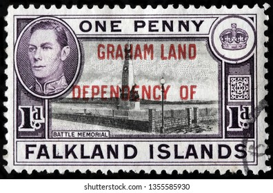 LUGA, RUSSIA - FEBRUARY 08, 2018: A stamp printed by FALKLAND ISLANDS shows Memorial of Battle of the Falklands, fought between British and German fleets in December 1914, circa 1938