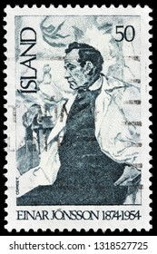 LUGA, RUSSIA - FEBRUARY 13, 2019: A stamp printed by ICELAND shows image portrait of famous   Icelandic sculptor Einar Jonsson, circa 1975