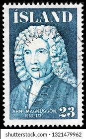 LUGA, RUSSIA - FEBRUARY 13, 2019: A stamp printed by ICELAND shows image portrait of famous    Icelandic-Danish scholar and collector of manuscripts Arni Magnusson, circa 1975