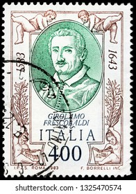 LUGA, RUSSIA - FEBRUARY 13, 2019: A stamp printed by ITALY shows Girolamo Alessandro Frescobaldi - famous musician from the Duchy of Ferrara, in northern Italy, circa 1983