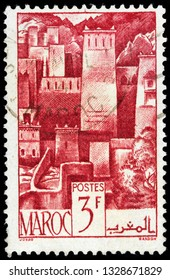 LUGA, RUSSIA - FEBRUARY 13, 2019: A stamp printed by MOROCCO shows view of Kasbah - central part of an old Moroccan town or citadel, circa 1947
