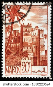 LUGA, RUSSIA - FEBRUARY 13, 2019: A stamp printed by MOROCCO shows view of Ouarzazate - a city and capital of Ouarzazate Province in south-central Morocco, circa 1947