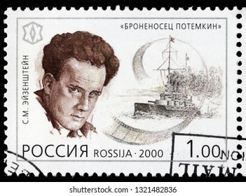 LUGA, RUSSIA - FEBRUARY 17, 2019: A stamp printed by RUSSIA shows Sergei Eisenstein - famous Soviet film director and film theorist, pioneer in the theory and practice of montage, circa 2000