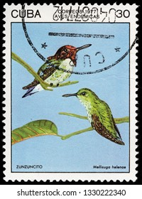 LUGA, RUSSIA - FEBRUARY 17, 2019: A stamp printed by CUBA shows bee hummingbird or zunzuncito which is the world's smallest bird. It is endemic to Cuba, circa 1977
