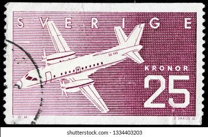LUGA, RUSSIA - FEBRUARY 17, 2019: A stamp printed by SWEDEN shows Swedish airplane Saab SF340, circa 1987