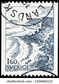 LUGA, RUSSIA - FEBRUARY 17, 2019: A stamp printed by SWEDEN shows beautiful veiw of Stora Karlso - small Swedish island in the Baltic Sea not far from the island of Gotland, circa 1983