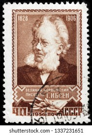 LUGA, RUSSIA - FEBRUARY 17, 2019: A stamp printed by RUSSIA (USSR) shows image portrait of famous Norwegian playwright, theatre director, and poet Henrik Johan Ibsen, circa 1956
