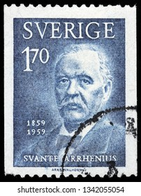LUGA, RUSSIA - FEBRUARY 17, 2019: A stamp printed by SWEDEN shows image portrait of famous Swedish scientist, physicist, and chemist Svante August Arrhenius, circa 1959