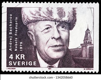 LUGA, RUSSIA - FEBRUARY 17, 2019: A stamp printed by SWEDEN shows Andrei Sakharov - Russian nuclear physicist, dissident, and activist for disarmament and human rights, circa 1991
