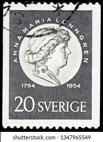 LUGA, RUSSIA - FEBRUARY 17, 2019: A stamp printed by SWEDEN shows image portrait of one of the most famous poets in Swedish history Anna Maria Lenngren, circa 1954