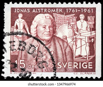 LUGA, RUSSIA - FEBRUARY 17, 2019: A stamp printed by SWEDEN shows image portrait of Jonas Alstromer - famous pioneer of agriculture and industry in Sweden , circa 1961